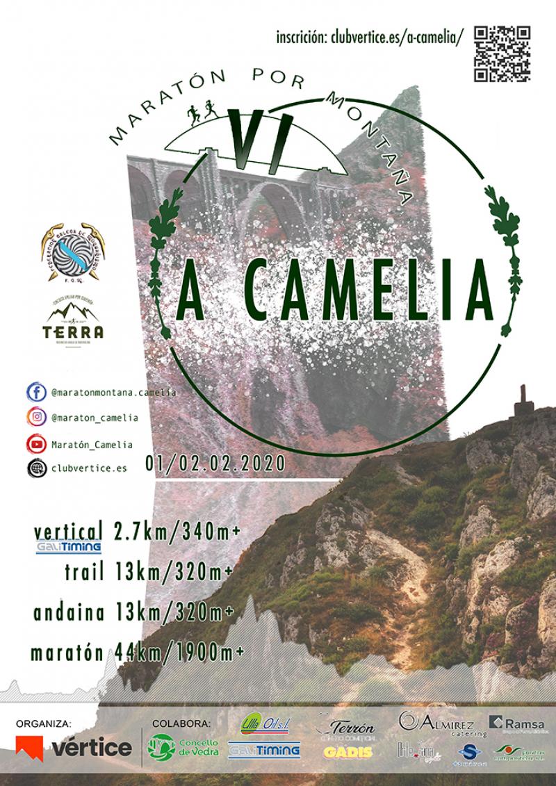 "Cartel del evento VI MARATÓN POR MONTAÑA ""A CAMELIA"" 2020"