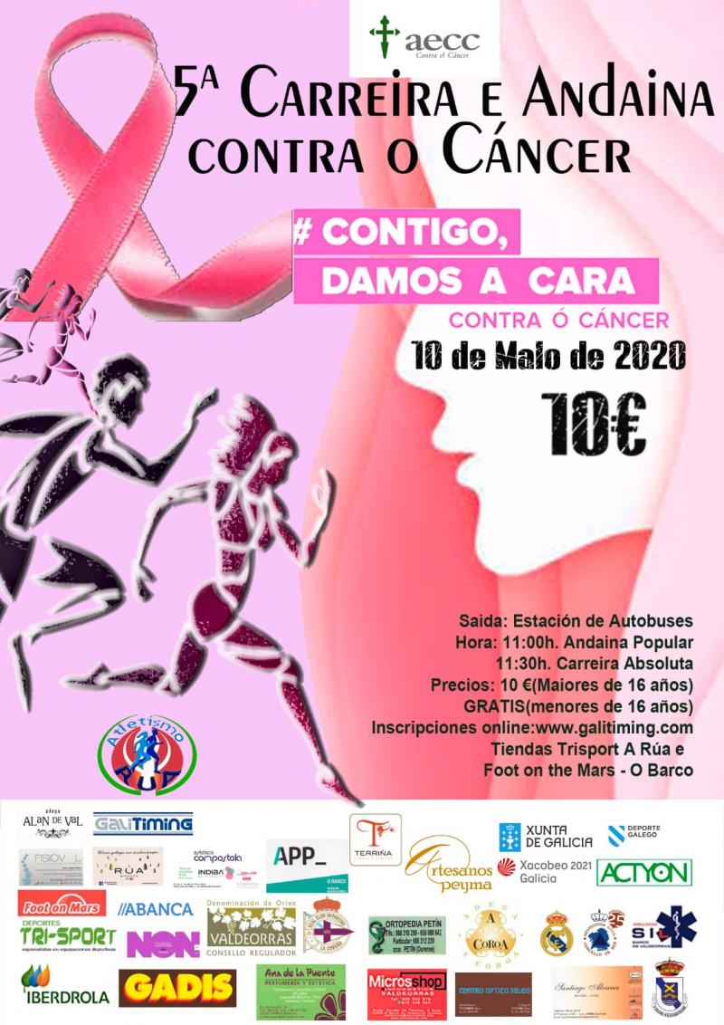 Cartel del evento V CARRERA Y ANDAINA CONTRA EL CÁNCER DE A RÚA 2020