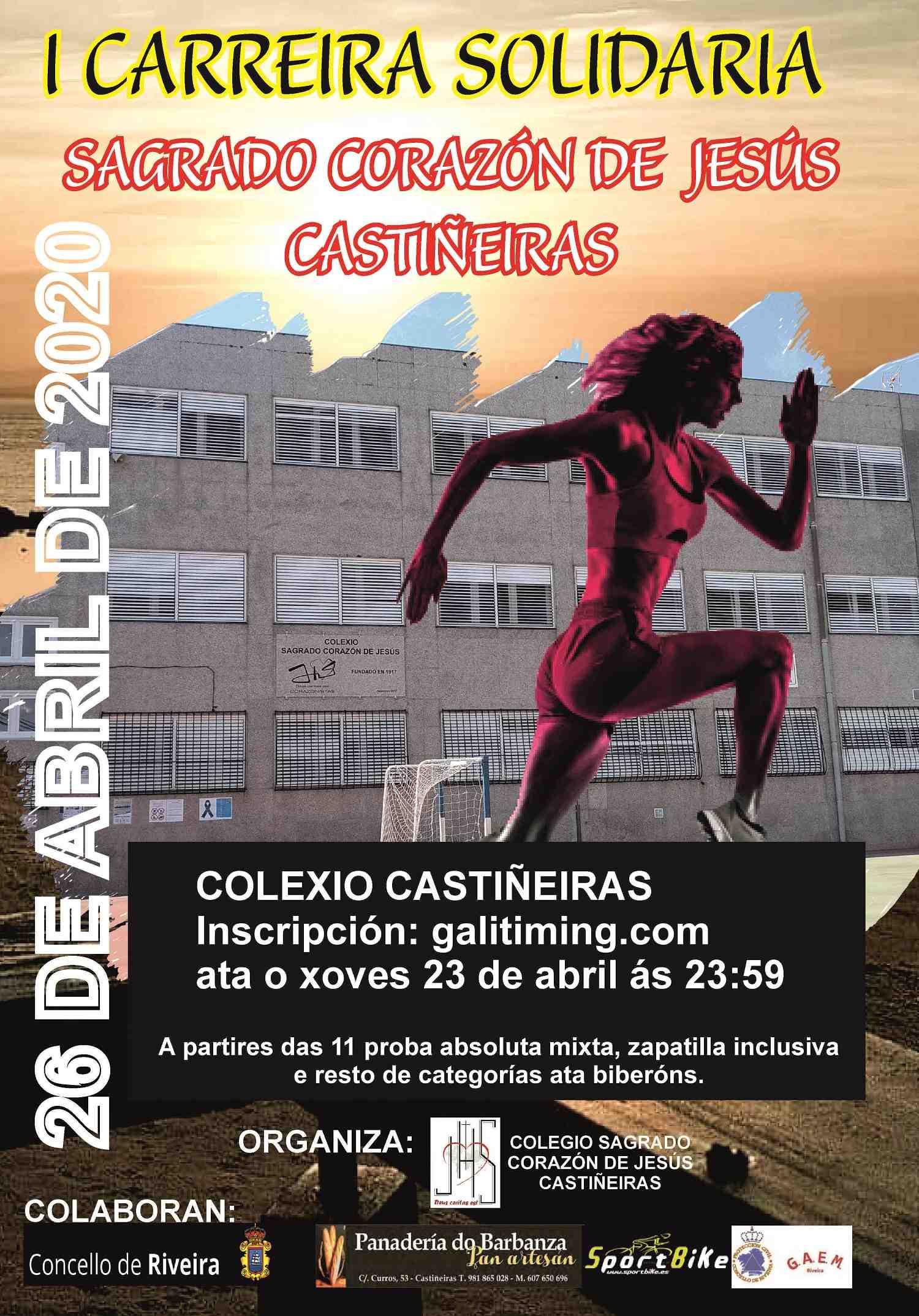 Cartel del evento I CARREIRA SOLIDARIA COLEXIO SAGRADO CORAZÓN DE JESÚS CASTIÑEIRAS