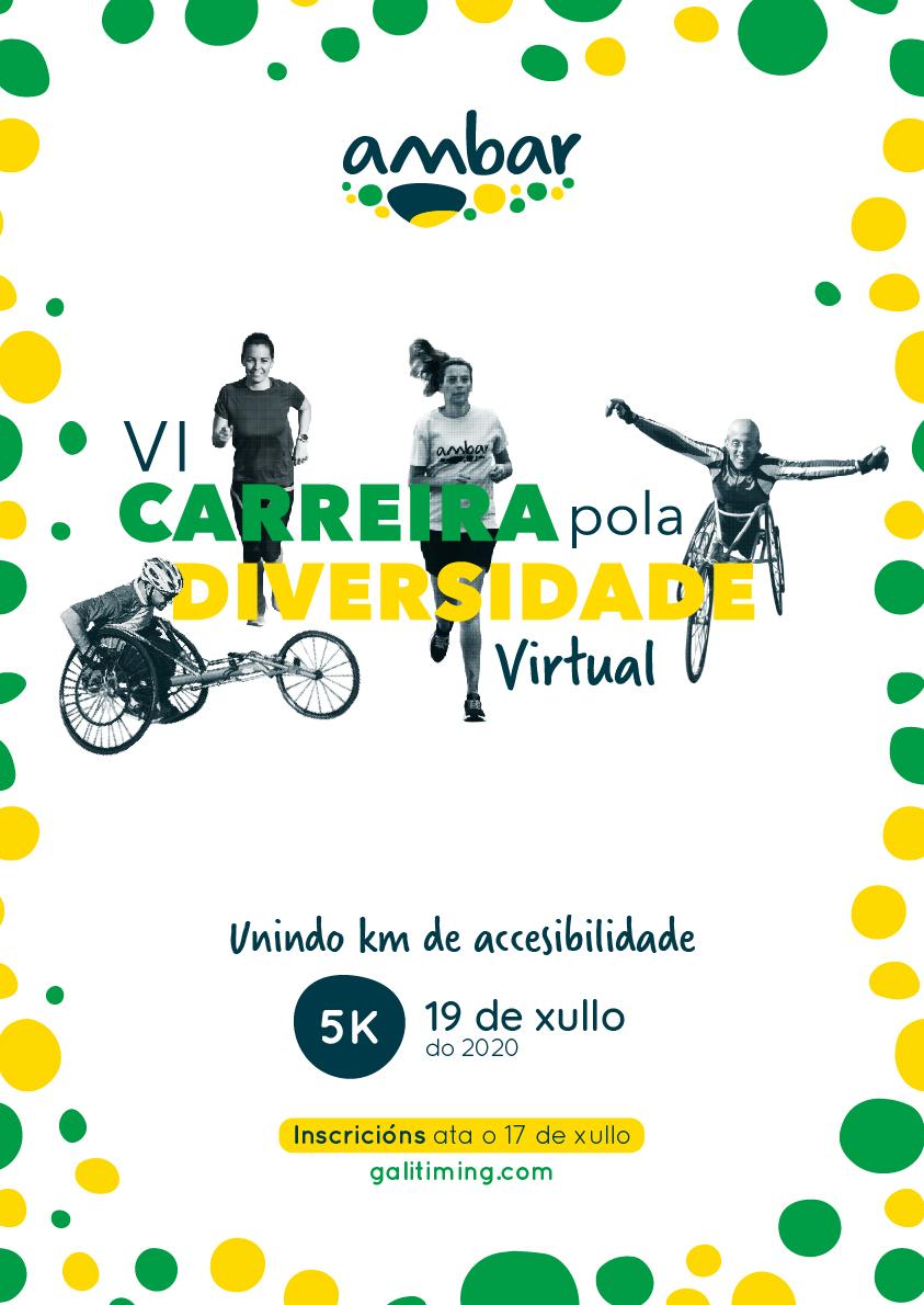 Cartel del evento VI CARREIRA POLA DIVERSIDADE. VIRTUAL- UNINDO KM DE ACCESIBILIDADE.