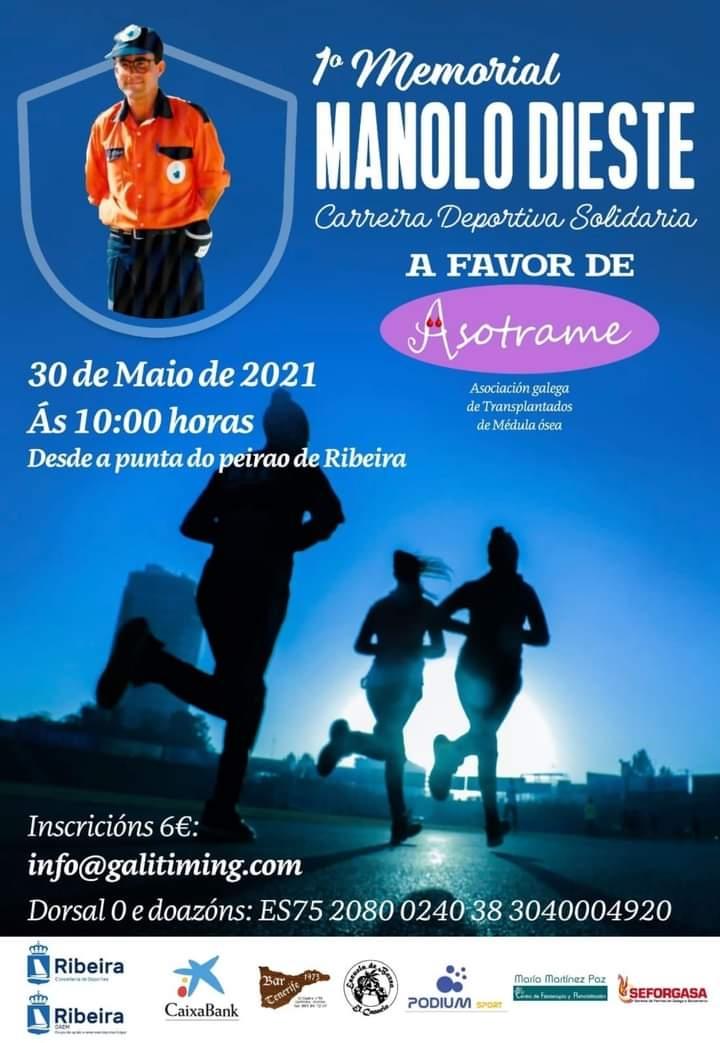 Cartel del evento I CARREIRA A FAVOR DE ASOTRAME - MEMORIAL MANOLO DIESTE